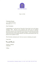 2006 Chancellor's List Letter