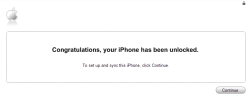 iTunes Unlock Confirmation